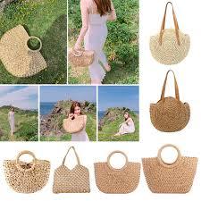 <b>Straw Bag Women's</b> Summer <b>Rattan Bag Handmade</b> Woven Circle ...