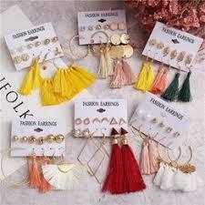 10 Bohemian Earring Long Tassel Drop Earrings Set For ... - Vova