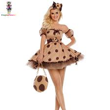 <b>Womens Sexy Polka Dot</b> Singer Costumes Brown Cookie Cutie ...