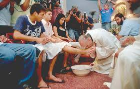 Image result for pope francis washing inmates feet