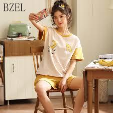 <b>BZEL</b> New Simple <b>Pyjamas</b> Women Cotton Short Sleeves Ladies ...