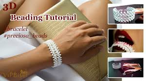 <b>Beaded</b> Bracelet. <b>White</b>. Preciosa <b>Beads</b>. <b>3D Beading</b> Tutorial ...
