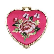 Heart Shape Embroidered Flowers Mini Pocket <b>Mirror Make Up</b> ...