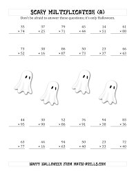 Scary Multiplication (2-Digit by 2-Digit) (A) Halloween Math WorksheetFull Preview