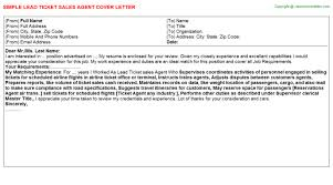 Lead Ticket sales Agent Cover Letter