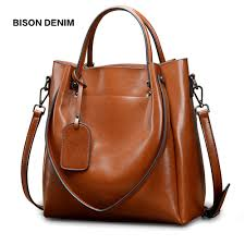 <b>BISON DENIM Cow Leather</b> Luxury Handbags Women Bags ...