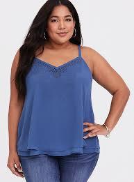 Sophie - Blue <b>Chiffon Embroidered</b> Cami - <b>Plus Size</b>   Torrid