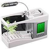 mini usb lcd desktop lamp light fish tank aquarium led clock white 1bag stone office desk aquarium
