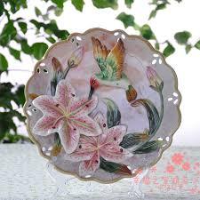 <b>Hummingbird</b> lily <b>flower</b> decorative wall dishes porcelain decorative ...