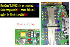 nokia n  china charging problem solution ways jumpers    mobile    all parts that are colored by red lines are charging parts so make sure and check these links change charging base and if problem is not solved then change