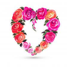 Decorative colorful valentines day <b>flower heart</b> shape <b>card</b> Vector ...