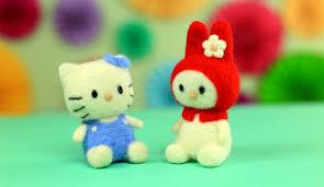 Как свалять игрушки Hello <b>Kitty</b> из шерсти для начинающих ...
