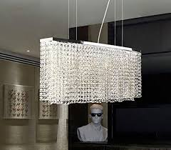 Modern Crystal Chandeliers For Dining Room Siljoy Modern Crystal Chandelier Lighting Rectangular Pendant