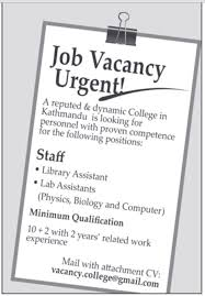 library assistant and lab assistants in nepal job description for library assistant