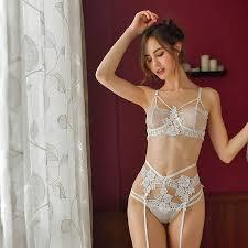 <b>sexy mousse</b> bra and panties sets garter embroidery <b>lace</b> mesh ...