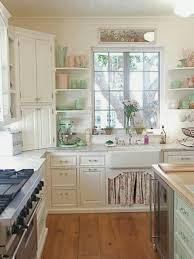 charming shabby chic kitchen design with framed window also floral valance under sink and natural wood charming shabby chic kitchen