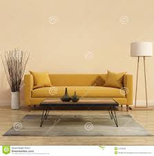 modern modern interior with a yellow sofa in the living room with a white minimal bathtub bright yellow sofa living