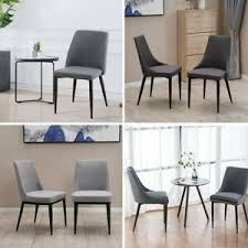 <b>Furniture 2PCS Dining Chairs</b> Fabric Padded <b>Seat</b> Black Metal Legs ...