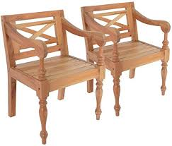 Tidyard <b>Batavia Chairs 2 pcs</b> Outdoor Dining Chairs Set Armchairs ...