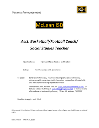 mclean isd assistant basketball football coach social studies inserted image translate this page