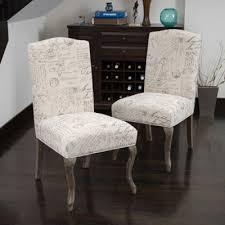 Crown Back French Script Beige Fabric <b>Dining Chairs</b> (Set of <b>2</b> ...
