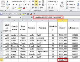 excel  averageif function calculating average  conditions example 2 we need to calculate the average salary of staff a salary higher than 7000000