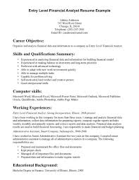 entry level financial analyst resume example entry level resume good objectives in a resume