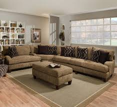 living room furniture miami: brown sofa with cushions on grey soft carpet rustic wooden furniture furnishing laminate flooring accent