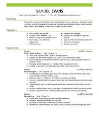 fast food server restaurant server sample resume