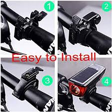 WODEJIA Solar Power Bicycle Front Light Bike Tail ... - Amazon.com