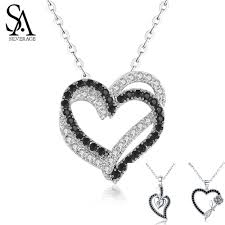<b>SA SILVERAGE Real 925</b> Sterling Silver Double/Three Heart Black ...