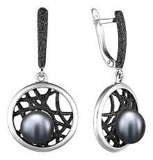 Серебряные <b>серьги</b> круглые с подвесками <b>De Fleur</b> 52845S2B с ...