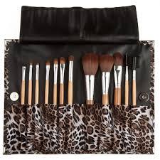 12pcs set leopard print makeup brush set pouch bag cosmetic brush kit eyeshadow brush