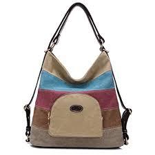 Womens Casual Canvas Shoulder <b>Bags Contrast Color</b> Splice ...
