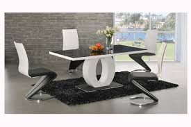 black and white dining table set: ingenious white dining table with circle table leg and unusual dining chairs design from ashley furniture