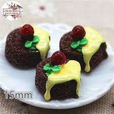 <b>10pcs</b> Resin 3D strawberry Chocolate cake Cabochon <b>Miniature</b> ...