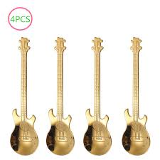 4PCS Guitar Coffee Spoon Set <b>Stainless Steel Dessert Ice</b> Cream ...
