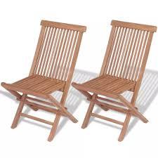 Folding <b>Garden Chairs 2 pcs</b> Solid Teak Wood