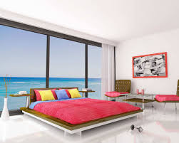 minimalist bedroom color with red bed sheet with colorful pillows and white wall with large glass charming bedroom ideas red