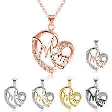 <b>HUITAN</b> Fashion Letter MOM Heart Shape Inlaid Crystal Pendant ...
