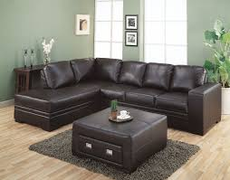 very popular sectional dark brown leather couch with square upholstered brown leather coffee table storage on brown dark gray
