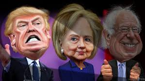 Image result for hillary between bernie and trump pics