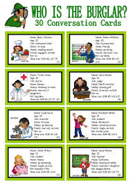 <b>WHO</b> IS <b>THE</b> BURGLAR? - 30 Conversation Cards - Roleplay ...