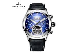 <b>Reef Tiger Mens Sport</b> Watches Analog Tourbillon Luminous Blue ...