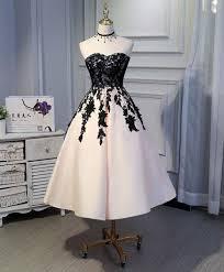 Cute champagne satin prom dress with <b>lace appliques</b>, <b>short</b> prom ...