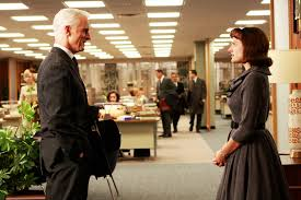 roger sterling john slattery faces off with peggy olson elisabeth moss in season two photo by carin baer art roger sterling office
