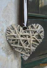 Free shipment 15cm Hanging <b>hearts</b> made from natural <b>willow</b> ...
