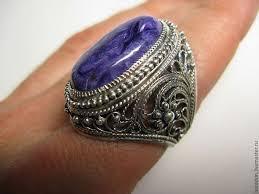 Филигранное серебряное <b>кольцо</b> с чароитом – заказать на ...