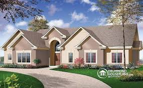 House plan W detail from DrummondHousePlans comfront   BASE MODEL bedroom   mezzanine  bonus space and double garage   Florence