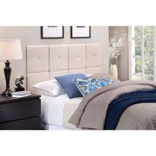 tessa fullqueen size tile headboard with x seam and tuft in natural linen beige bedroom furniture